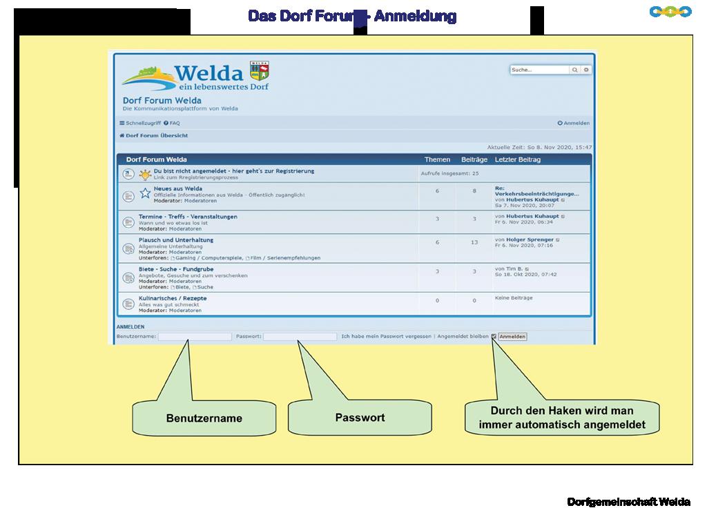 Bedienungsanleitung Dorf Forum Welda