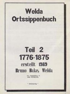 Bruno Hake - Ortssippenbuch Welda - Teil 2