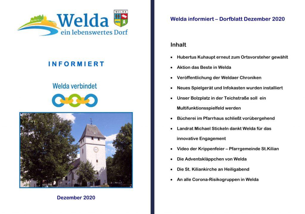 Welda informiert - Dorfblatt Dezember 2020