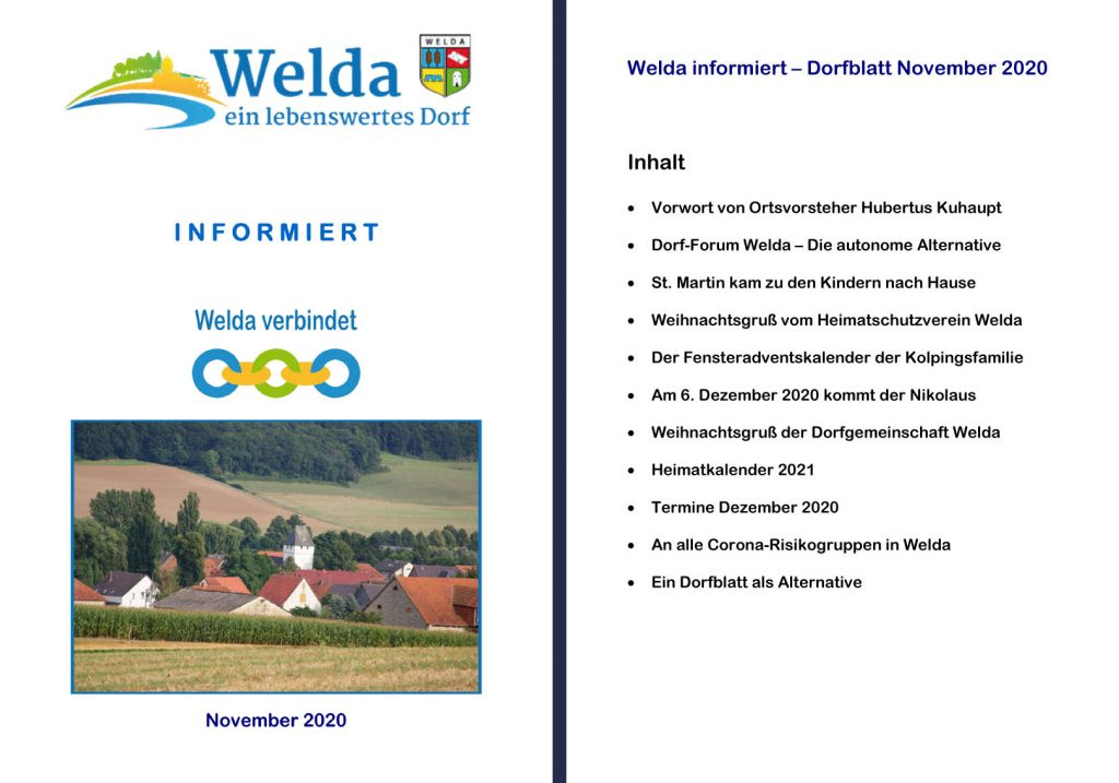 Welda informiert - Dorfblatt November 2020