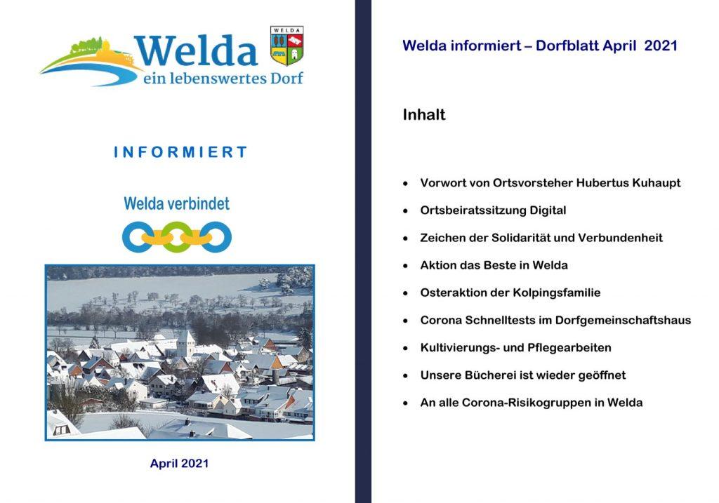 Welda Informiert - Dorfblatt April 2021