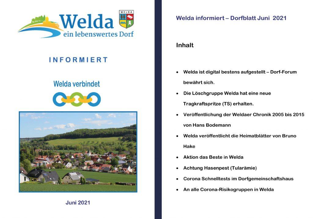 Welda Dorfblatt Juni Inhalt