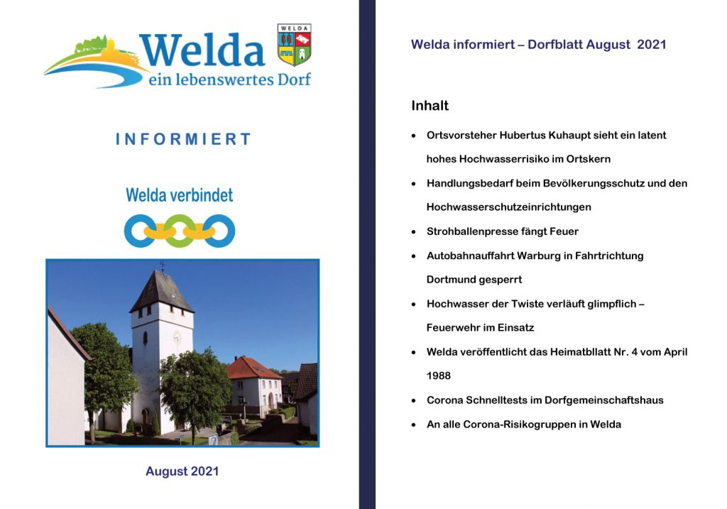 Welda Dorfblatt August Inhalt